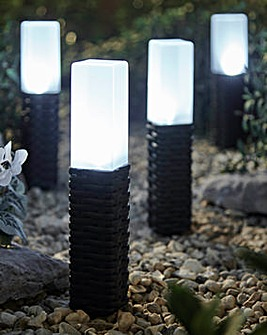 Set of Four Rattan Style Solar Lights