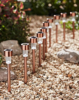Set of 10 Copper Solar Lights