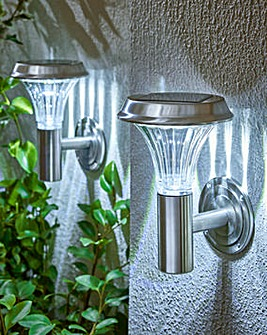 Set 2 Solar Stainless Steel Wall Lights