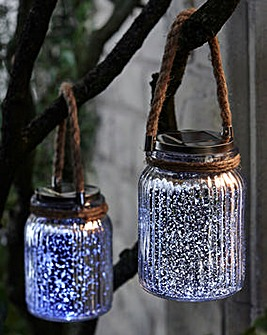 Set of 2 Silver Solar Glass & Rope Jars