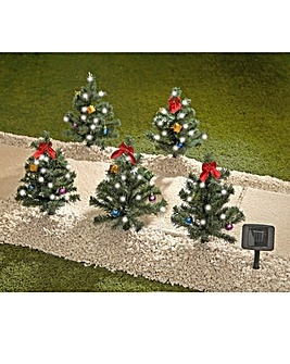 5 Solar Pine Trees Christmas Ornaments