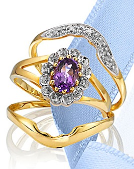 9 Carat Gold Gemstone Ring Set