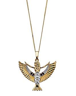 9ct Gold Garnet & Diamond Set Pendant
