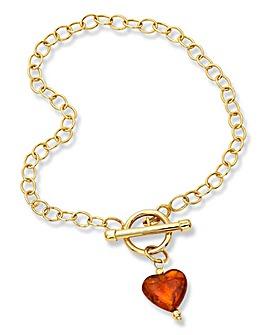 9ct Gold Amber Heart T-Bar Bracelet