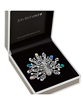 Jon Richard Crystal Peacock Brooch