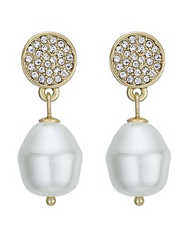 Mood Pave Disc And Pearl Earring