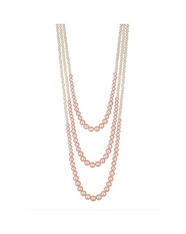 Mood Pink Pearl Multi Row Necklace