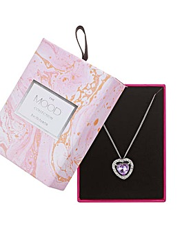 Mood Purple Crystal Heart Necklace
