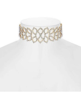 Mood Diamante Leaf Choker Necklace