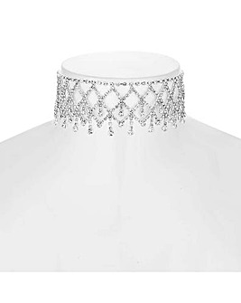 Mood Diamante Droplet Choker Necklace