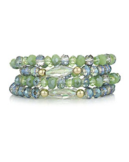 Mood Green Beaded Bracelet Set