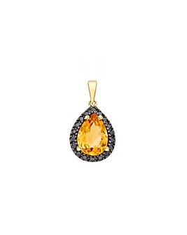 9Ct Gold Diamond And Citrine Pendant