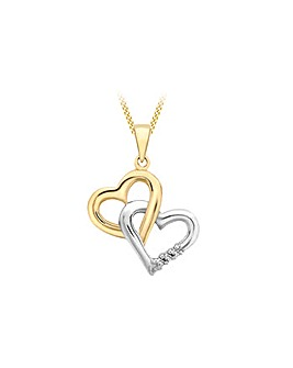 9ct 2 Colour Gold Heart Diamond Necklace