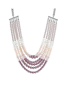 Mood Pink tonal pearl multi row necklace