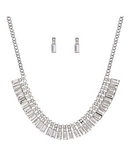 Mood baguette necklace and earring set