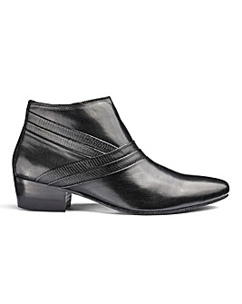 Leather Cuban Heel Boot Wide Fit