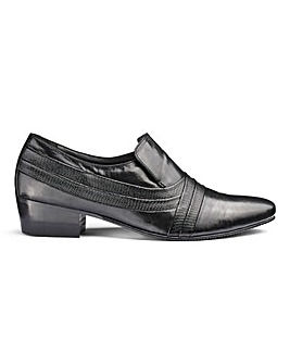 Leather Cuban Heel Slip On Shoes
