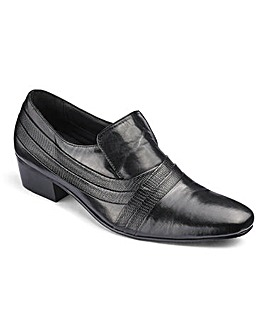 Leather Cuban Heel Slip On Shoe Wide Fit