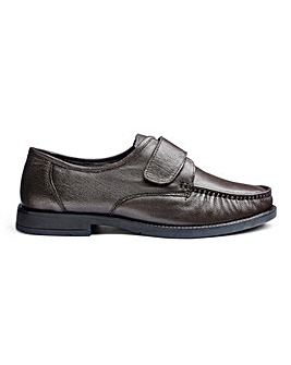 Leather Touch & Close Shoes Wide Fit