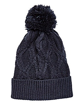 W&B Cable Knit Bobble Beanie