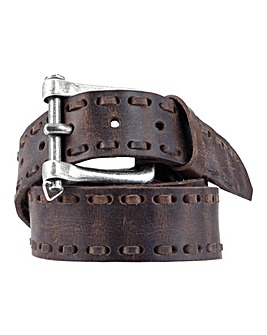 Souled Out Brown Stitch Leather Belt