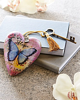 Hope Butterfly Heart & Key Decoration