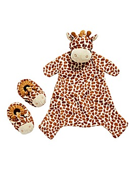 Baby Giraffe Blanket and Bootie Gift Set