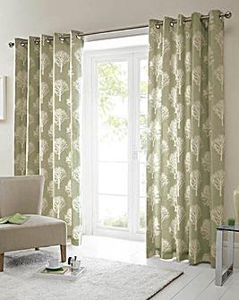 Woodland Trees Lined Eyelet Curtains
