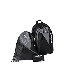 Carbrini 3 Piece Backpack Set - Black.