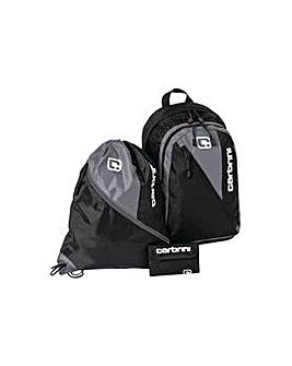 Carbrini 3 Piece Backpack Set - Black.