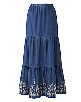 Joanna Hope Tired Embroidered Maxi Skirt