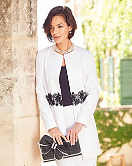 Joanna Hope Lace Trim Longline Jacket