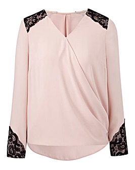 Joanna Hope Lace Trim Wrap Blouse
