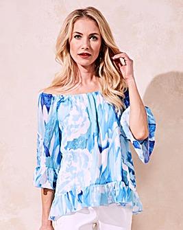 Joanna Hope Print Bardot Blouse