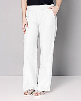 Slouch Linen Mix Wide Leg Trousers Long