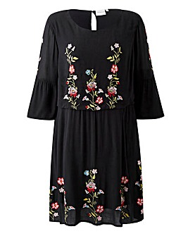 Junarose Embroidered Smock Dress