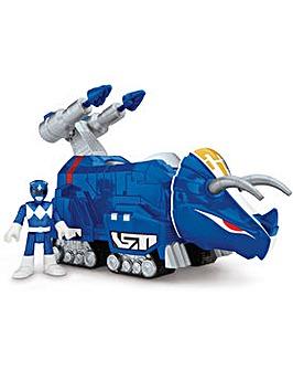 Power Ranger Blue Ranger and Triceratops