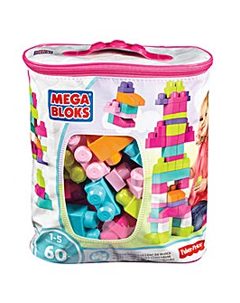 Mega Bloks Building Bag 60pc - Pink