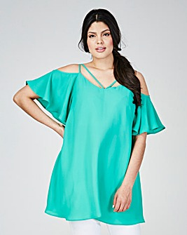 Grazia Strappy Shoulder Tunic Top