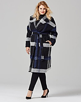 Helene Berman Large Plaid Thrown On Coat