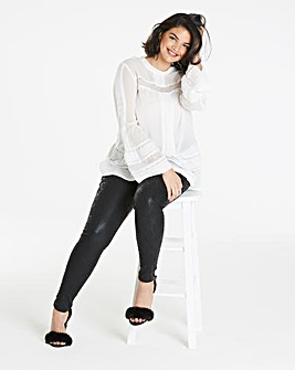 Ivory 3/4 Sleeve High Neck Blouse