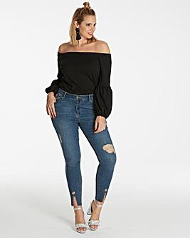 Chloe Split Hem Eyelet Skinny Jeans
