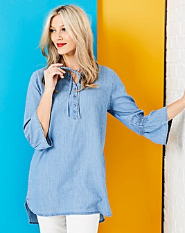 Tencel Tunic With Fluted Sleeves