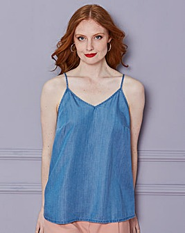 Soft Tencel Denim Strappy Cami Top