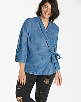 SOFT TENCEL DENIM WRAP BLOUSE