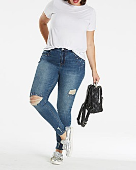 Chloe Distressed Jewel Skinny Jeans