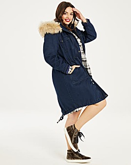 Luxe Denim Parka With Faux Fur Hood