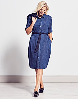 Stripe Denim Shirt Dress With Belt