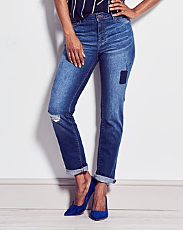 Bridget Patch Straight Leg Jeans
