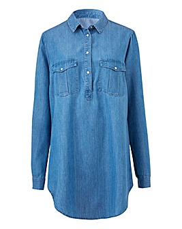 Petite Soft Lyocell Denim Tunic